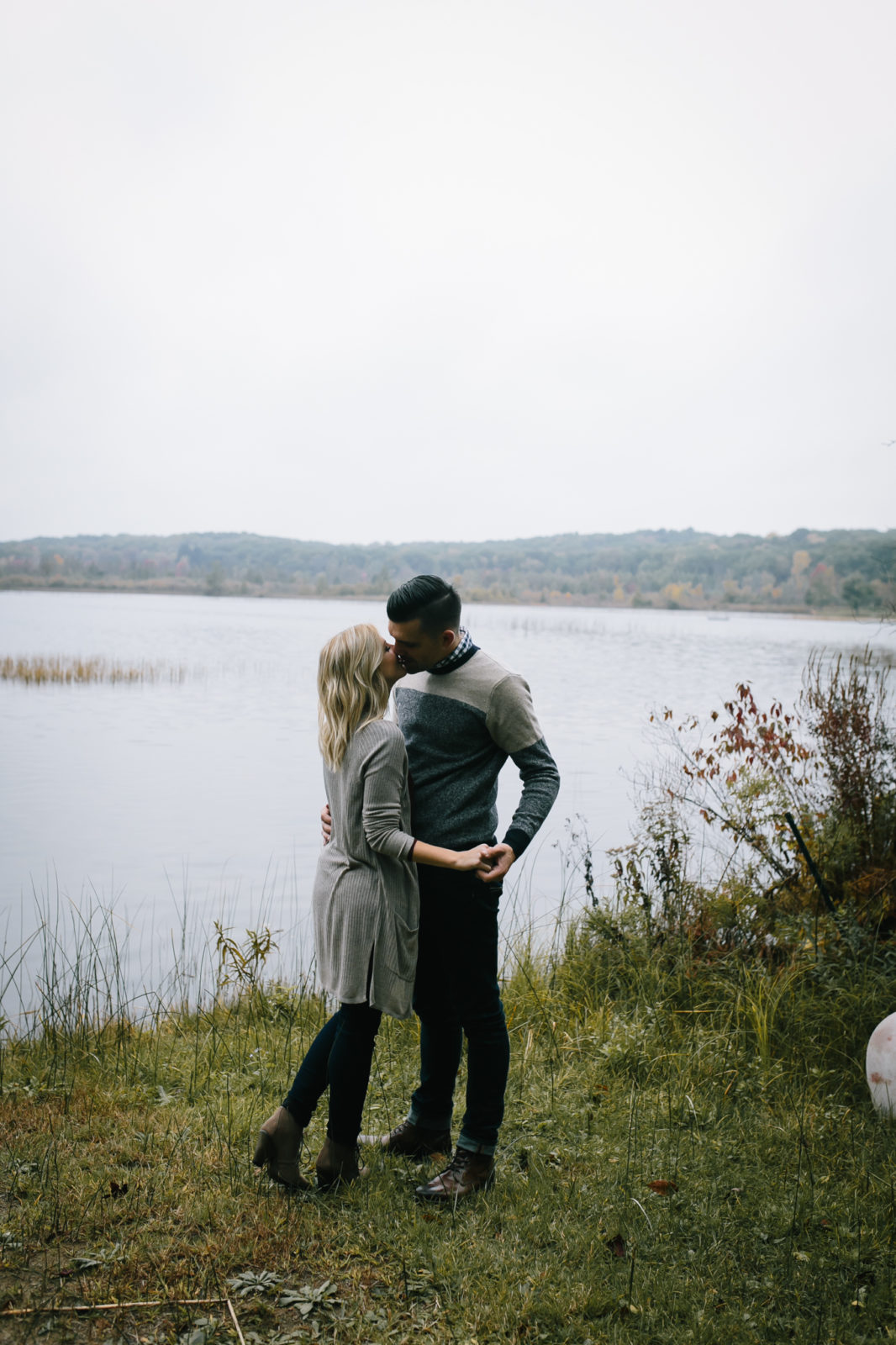 Outdoor engagement session in Chelsea, Michigan