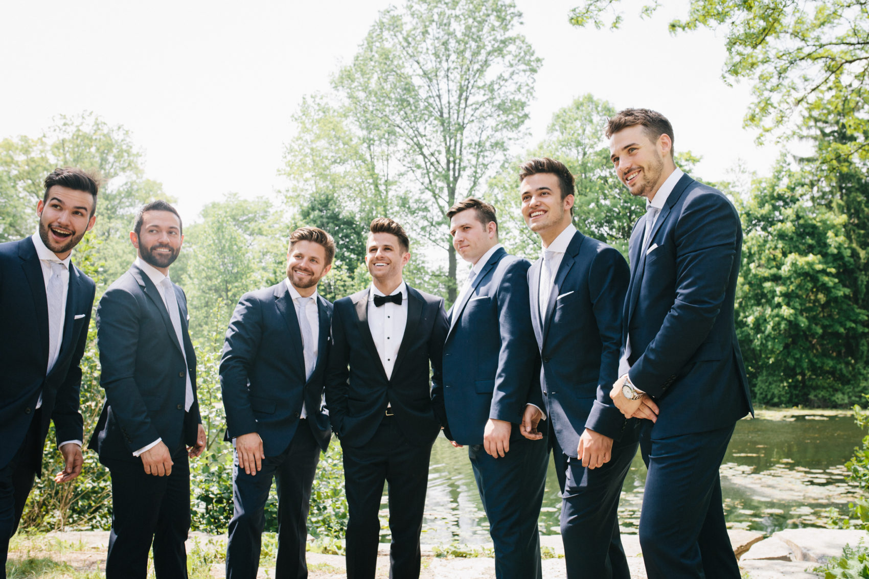 Groomsmen gather for a photo in Detroit, MI