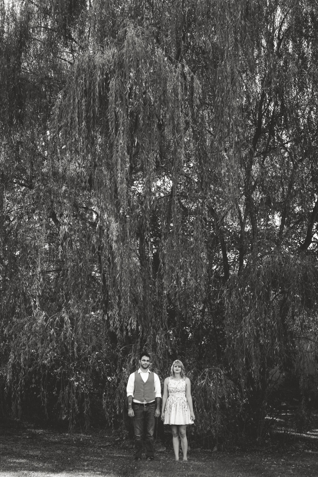 Couple poses under willow tree in Howell, Michigan